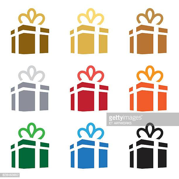 gift box icon set. vector - paperboard stock illustrations