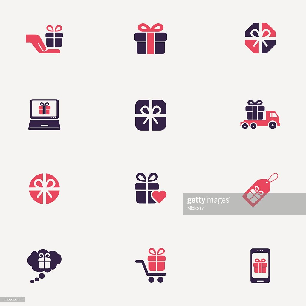 Gift box icons in black and red