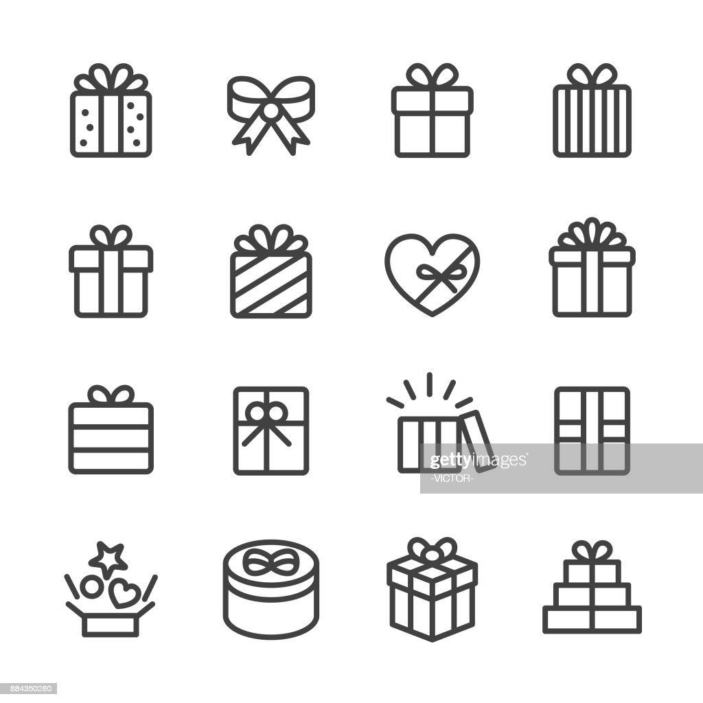 Gift Box Icons - Line Series : stock illustration