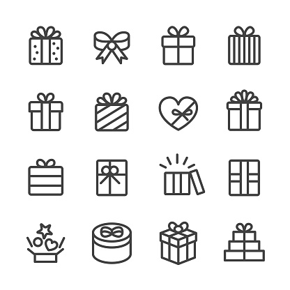 Gift Box Icons - Line Series - gettyimageskorea