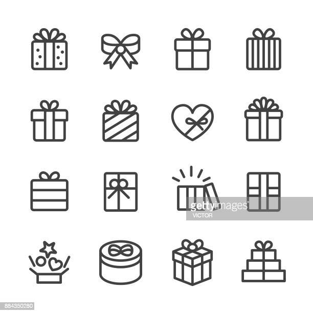 gift box icons - line series - heart symbol stock illustrations