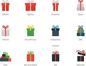 Gift box icons on white background.