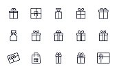 Gift box icons set outline style