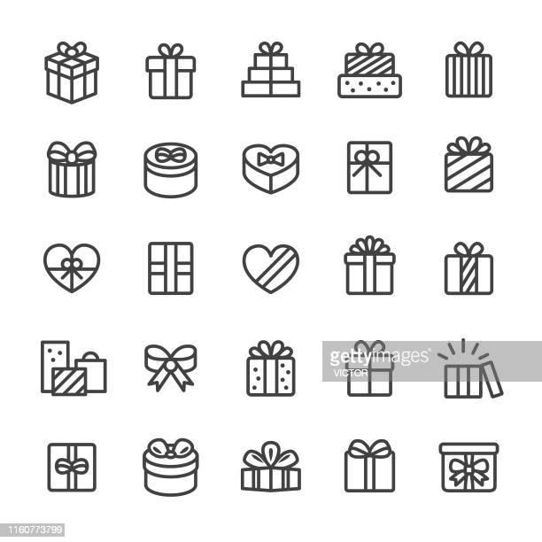ilustraciones, imágenes clip art, dibujos animados e iconos de stock de iconos de la caja de regalo - smart line series - caja de regalo