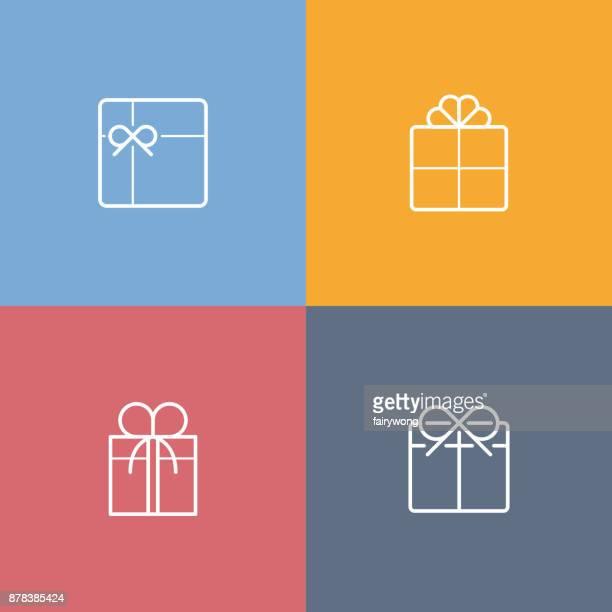 ilustraciones, imágenes clip art, dibujos animados e iconos de stock de caja de regalo de iconos - regalo