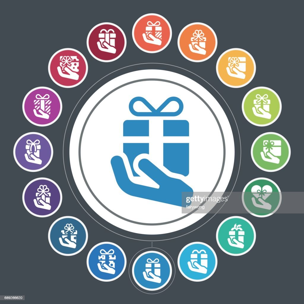 Gift box in hand icons : Stock Illustration