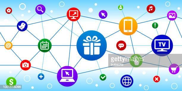 ギフト ボックス インターネット通信技術三角形ノード パターン背景
