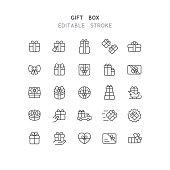 Gift Box Line Icons Editable Stroke