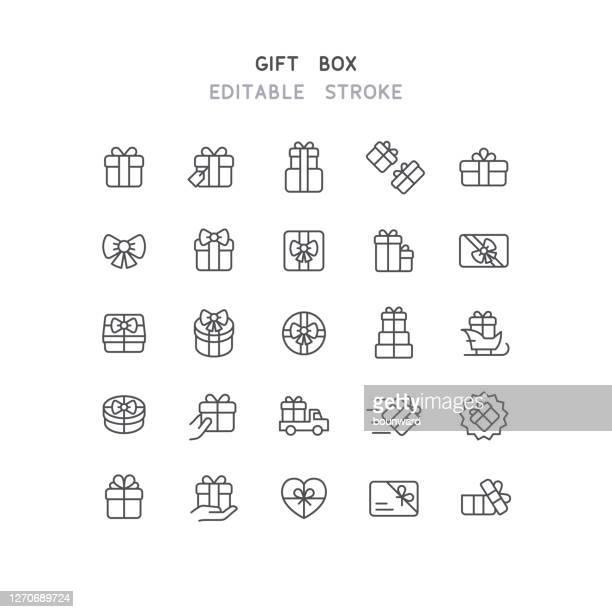 gift box line icons editable stroke - gift stock illustrations