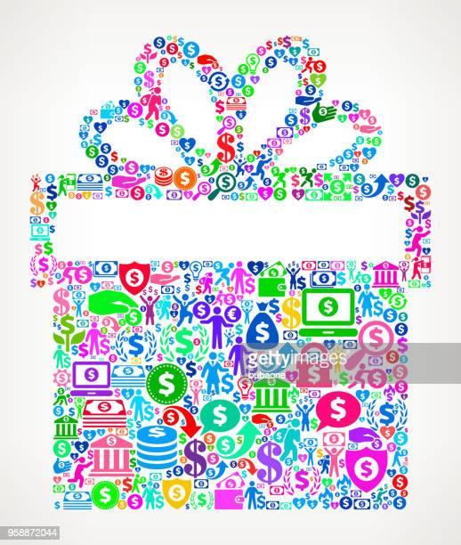 gift box money vector icon pattern - christmas cash stock illustrations