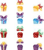 Gift Box New Year Cartoon Flat Design Icon Set Template