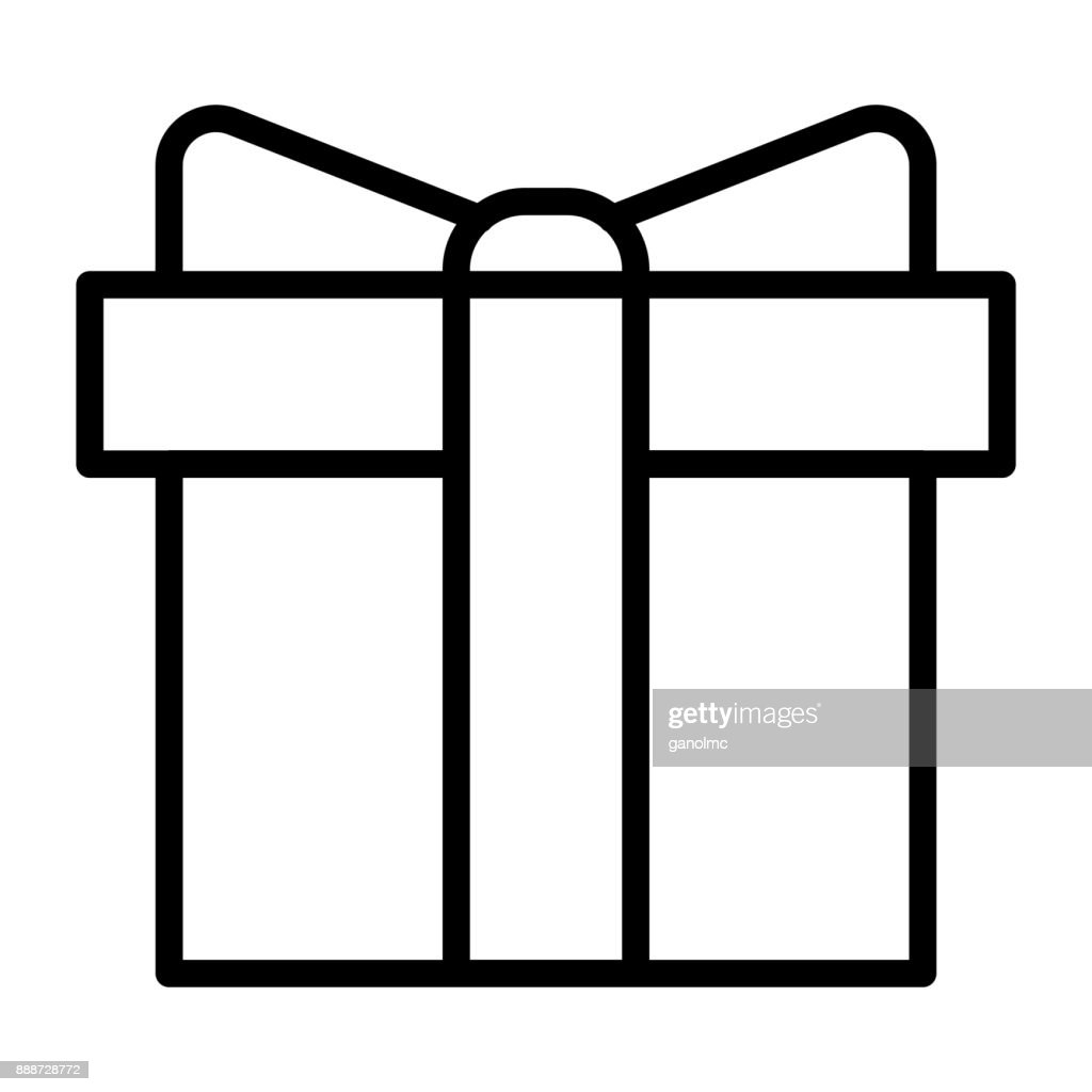 Gift Box Pixel Perfect Vector Thin Line Icon 48x48. Simple Minimal Pictogram