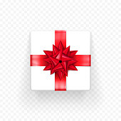 Gift box red bow ribbon vector template Birthday, New Year Christmas gifts