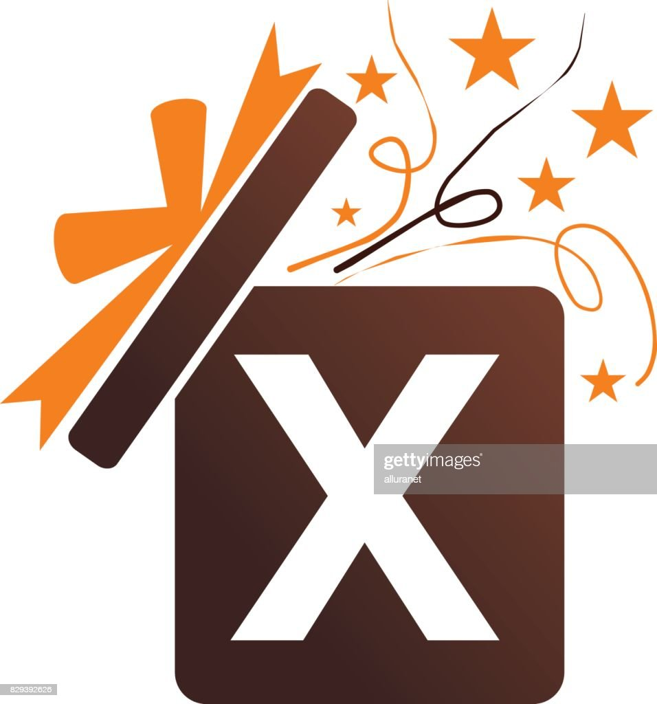 Gift Box Ribbon Letter X