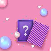 Gift box. Secret box with balloons