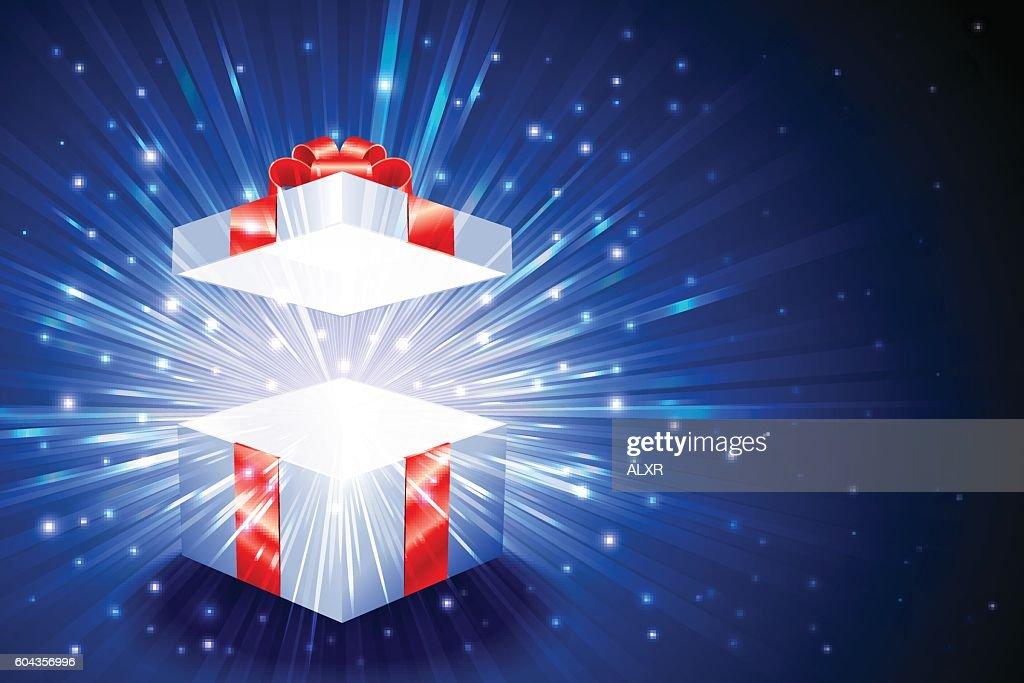 Gift Box Square Open Explosion Firework Shine Background Christmas Blue