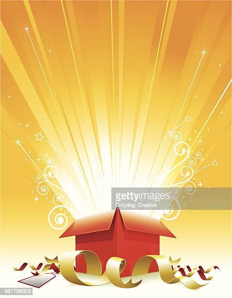 ilustraciones, imágenes clip art, dibujos animados e iconos de stock de caja de regalo sorpresa con cinta y tag - caja de regalo