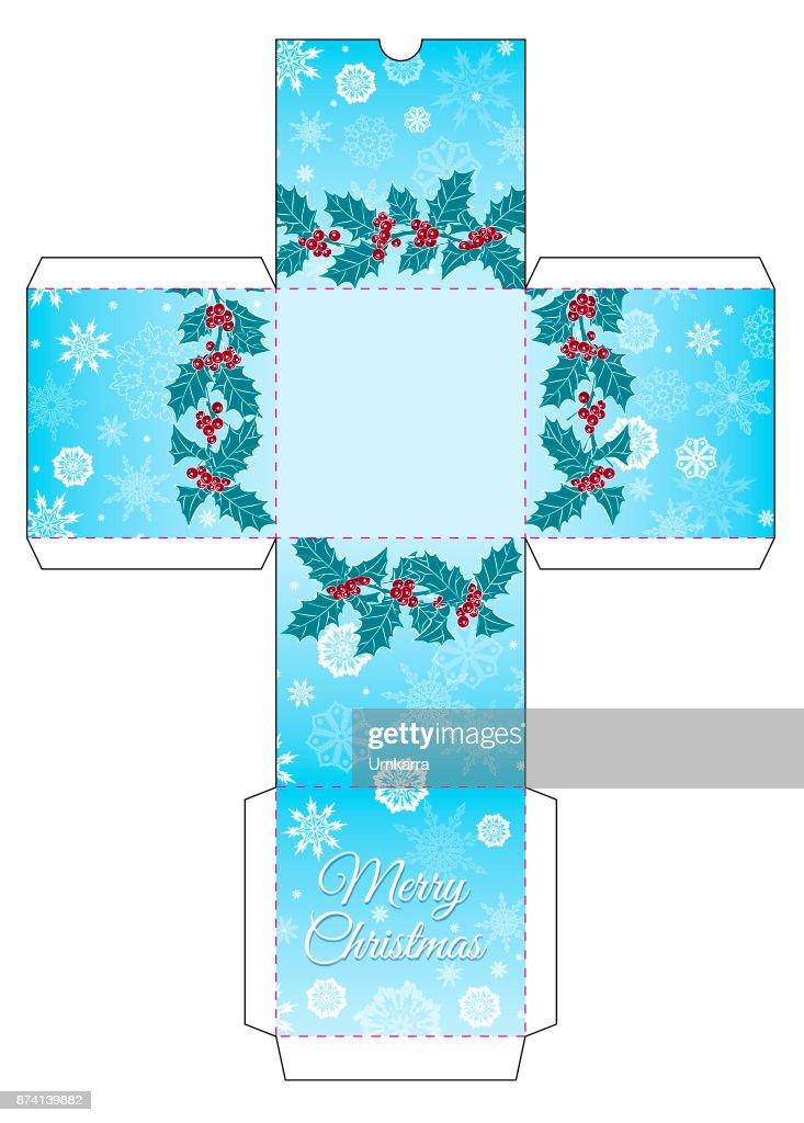 Geschenkbox Mit Einem Kranz Von Holly Schneeflocken Und Die Worte ...