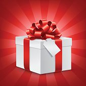 Gift box with blank Tag and Red Bow