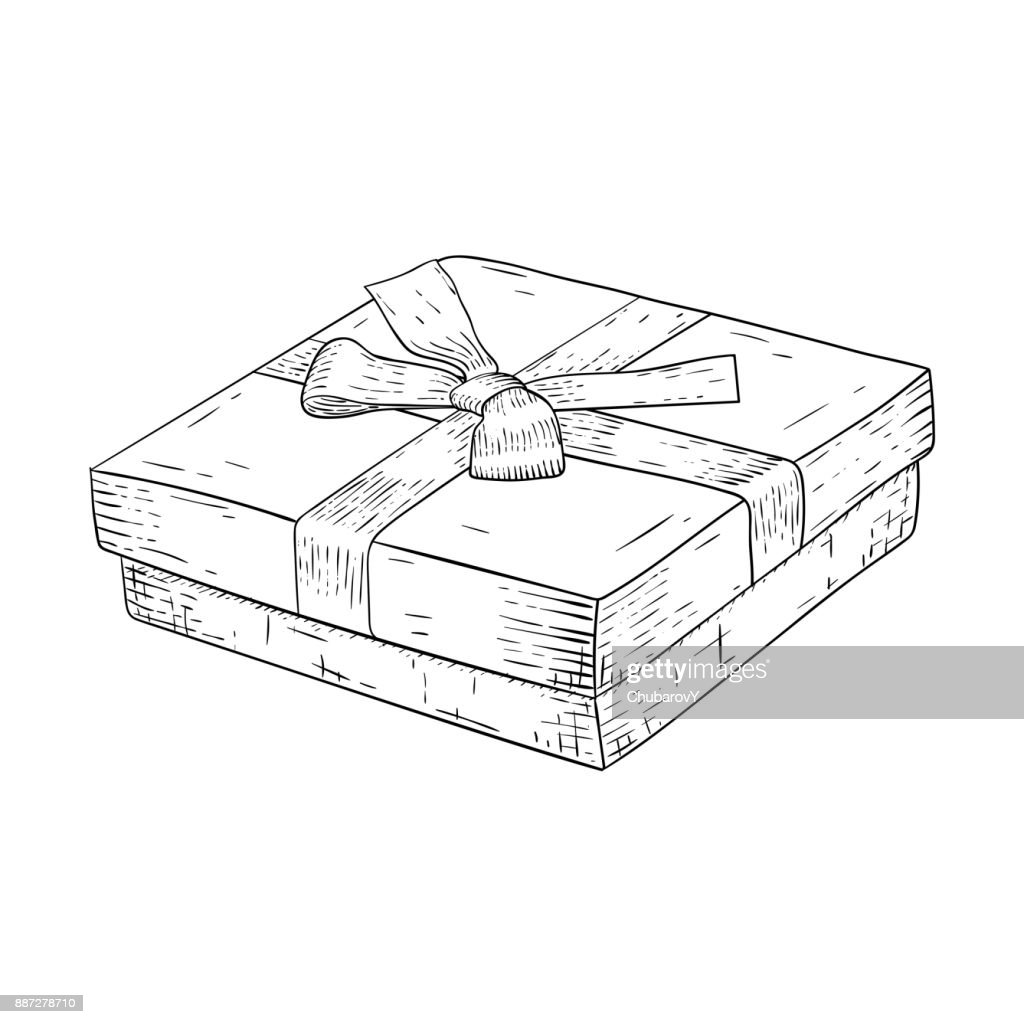 Gift box with ribbon bow. Jewelry box. Hand drawn sketch