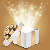 Gift box with shining light