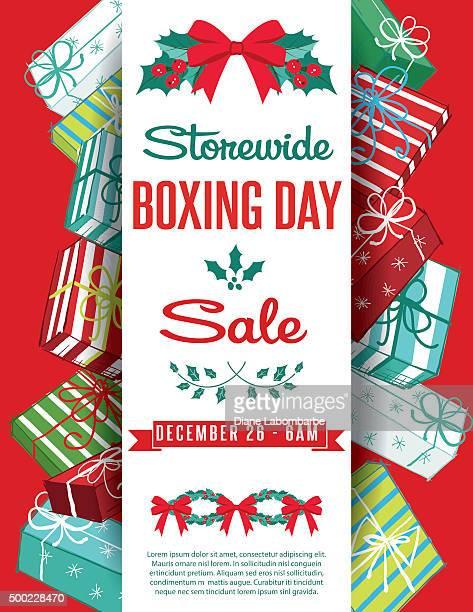 gift boxes christmas sale ad template - christmas present stock illustrations