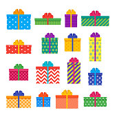 Gift boxes. Set of colorful presents. Vector illustration.