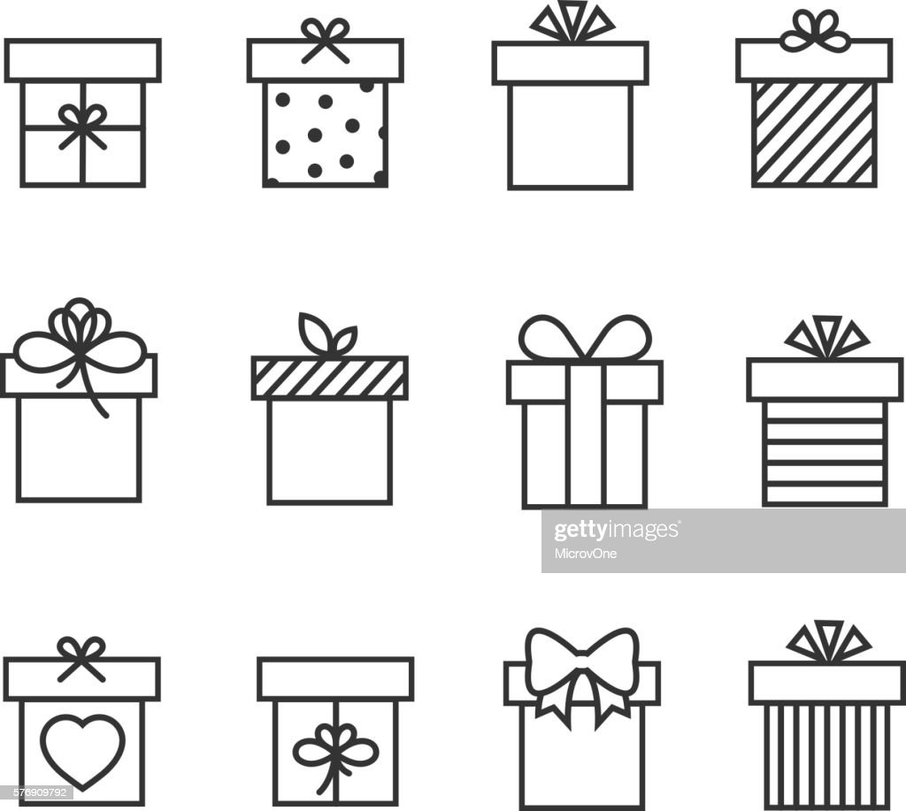 Gift boxes thin line vector icons