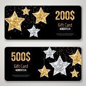 Gift Card Design with Gold Glitter Stars on Black
