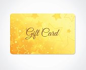 Gift card, Gift coupon, (discount, business card) withsparkling, twinkling stars pattern  (texture)