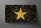 Gift card (VIP). Holiday award with big golden star shape and gold glitter pattern