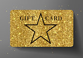 Gift card (VIP or discount). Holiday reward with big star shape and golden glitter pattern