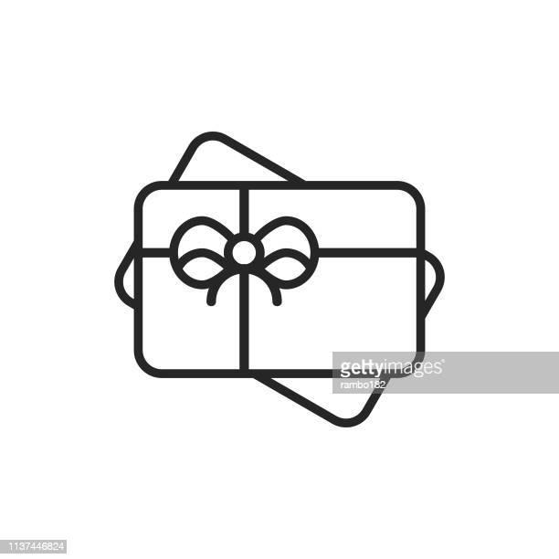 ギフトカードのラインアイコン。編集可能なストローク。ピクセルパーフェクト。モバイルとウェブのために。 - メッセージカード点のイラスト素材/クリップアート素材/マンガ素材/アイコン素材