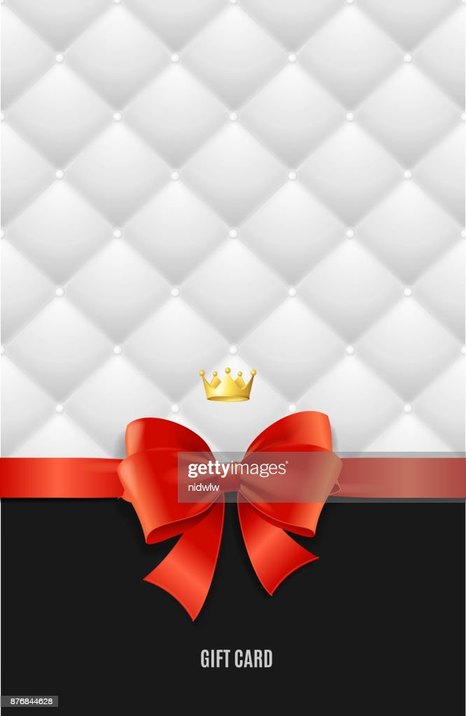 Gift Card Template Silk Ribbon Bow And Quilted Background Vector Art