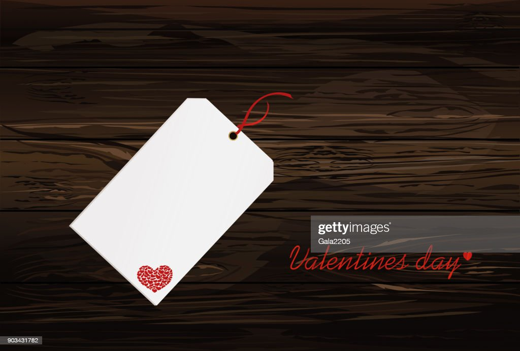 Gift card tied with a red heart. Vector. Valentine's Day. On wooden background Greeting card for the holiday.