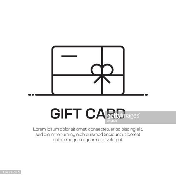 gift card vector line icon - simple thin line icon, premium quality design element - christmas cash stock illustrations