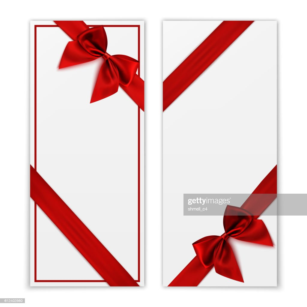 gift card white voucher templates with red ribbon ベクトルアート