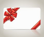 Gift card with a red ribbon bow