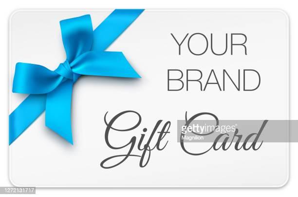 ブルーボウ付きギフトカード - メッセージカード点のイラスト素材/クリップアート素材/マンガ素材/アイコン素材