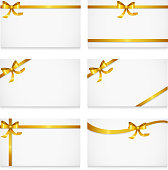 Gift card with gold ribbons and bow set