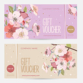 Gift card with сherry blossoms. Invitation card