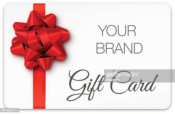 gift card with red bow - christmas present stock illustrations