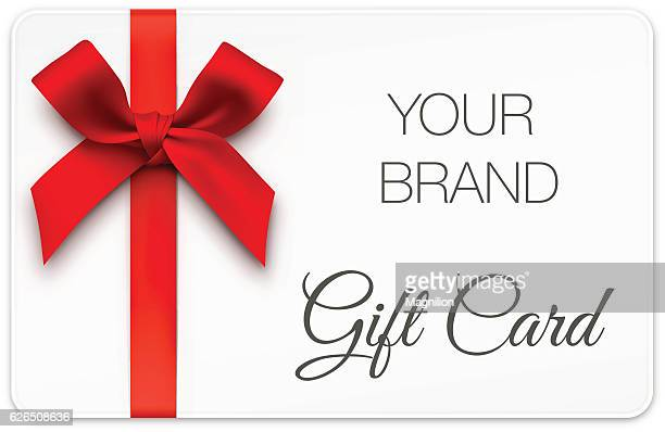 gift card with red bow - gift stock illustrations
