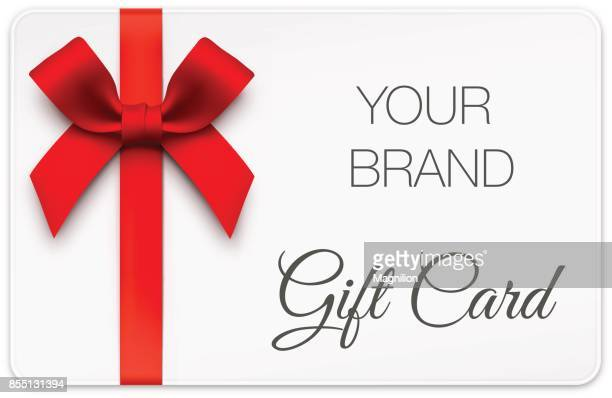 stockillustraties, clipart, cartoons en iconen met gift card met rode strik - zonder mensen