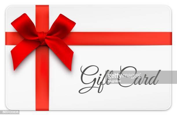 illustrations, cliparts, dessins animés et icônes de carte-cadeau avec arc rouge - cadeau