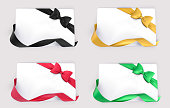 Gift cards or Banner decoration set. Green, red, black and yellow ribbon bow. Vector illustration.
