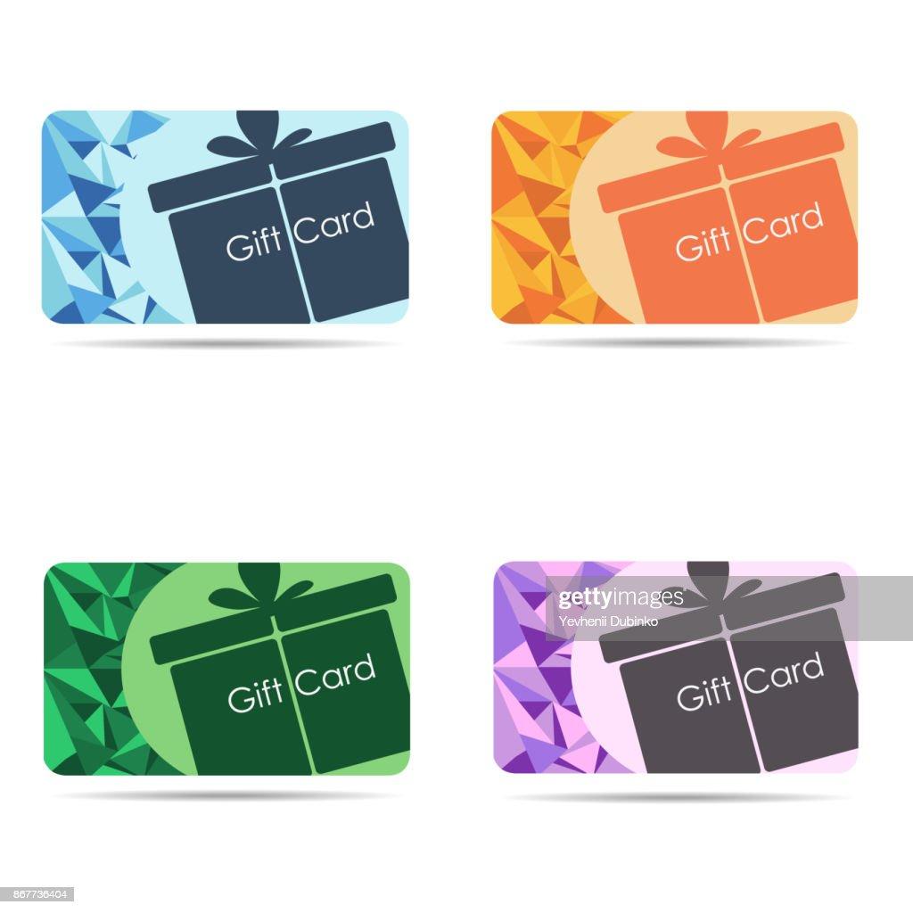 Gift cards set isolated on white background