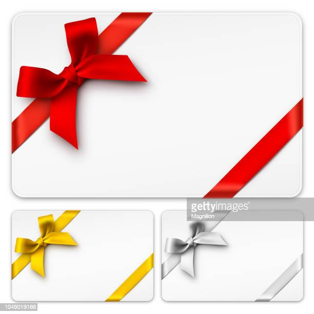 gift cards with bows - red stock illustrations