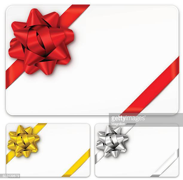 gift cards with bows - christmas present stock illustrations