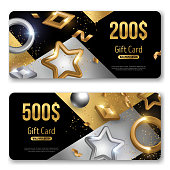 Gift cards with geometric baubles